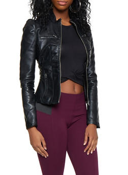 Ruched Side Faux Leather Jacket - 3087051064941