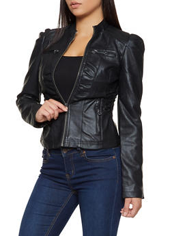 Faux Leather Ruched Moto Jacket - 3087051064942