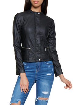Faux Leather Moto Jacket - 3087051065352