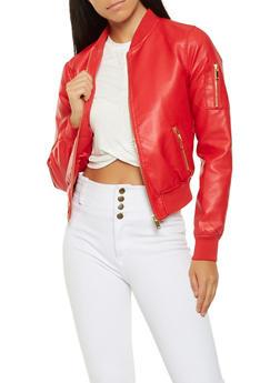 Faux Leather Bomber Jacket - 3087051065789