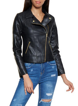 Faux Leather Moto Jacket - 3087051065790