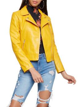 Faux Leather Moto Jacket - 3087051065790