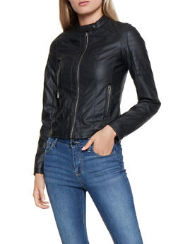 Decorative Stitch Faux Leather Jacket - 3087051065825