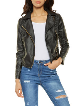 Ruched Faux Leather Moto Jacket - 3087051066351
