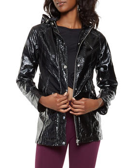 Faux Patent Leather Anorak Jacket - 3087051066660