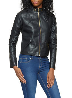 Faux Leather Moto Jacket - 3087051067060