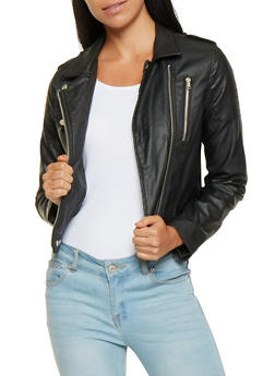 Faux Leather Moto Jacket - 3087051067148
