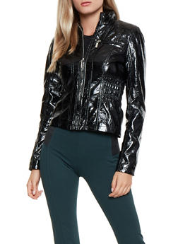 Ruched Faux Leather Jacket - 3087051067182