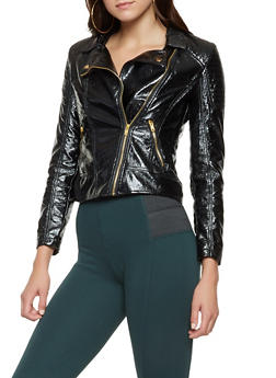 Faux Leather Zip Up Jacket - 3087051067183