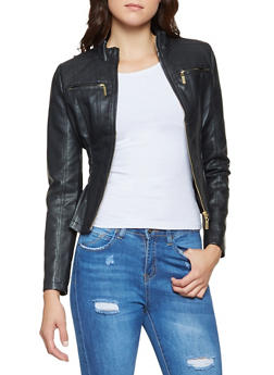 Ruched Faux Leather Jacket - 3087051069263