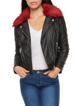 Faux Leather Stitched Jacket - 3087051069870