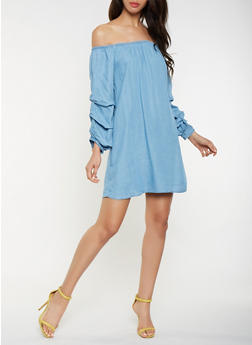 Off the Shoulder Chambray Dress - 3090051063972
