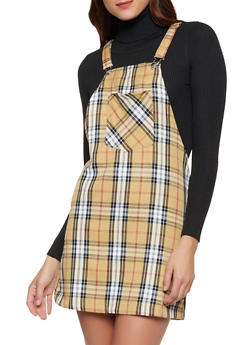 Plaid Overall Dress - 3090051064156