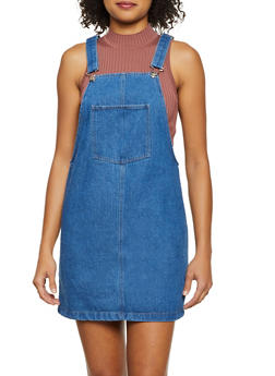 Denim Mini Overall Dress - 3090051064210