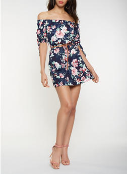 Belted Off the Shoulder Floral Dress - 3090051064791