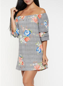 Printed Off the Shoulder Dress - 3090058753925