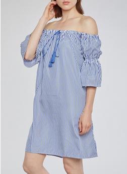 Off the Shoulder Stripe Dress - 3090058930137