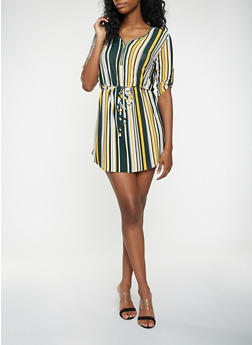 Striped Zip Neck Dress - 3090074282803