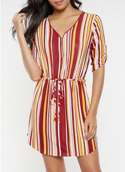 Striped Zip Neck Dress - 3090074282803