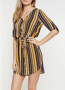 Striped Zip Neck Dress - 3090074283803