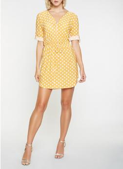 Printed Zip Front Dress - 3090074284803
