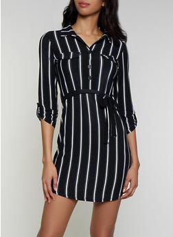 Striped Soft Knit Shirt Dress - 3090075173038