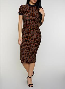 Geometric Print Contrast Trim Midi Dress - 3094015050305