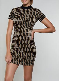 Printed Contrast Trim Bodycon Dress - 3094015050317