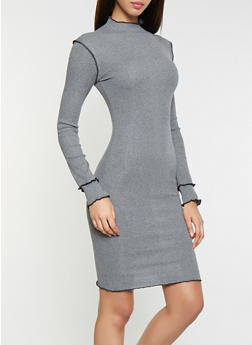 Mock Neck Rib Knit Dress - 3094015050337