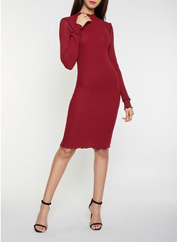 Mock Neck Rib Knit Dress - 3094015050337