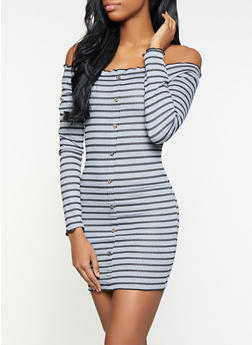 Striped Off the Shoulder Dress - 3094015050351