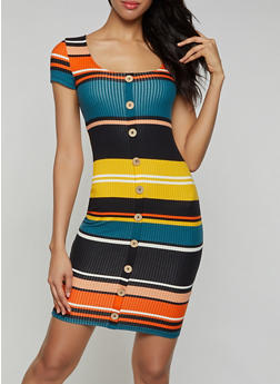 Striped Button Front Dress - 3094015050353