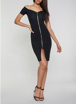 Zip Front Off the Shoulder Dress - 3094015050355