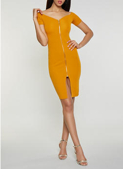 Zip Front Off the Shoulder Dress - 3094015050355