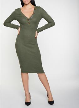 Brushed Knit Midi Sweater Dress - 3094015050358