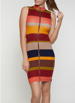 Striped Zip Front Bodycon Dress - 3094015050378