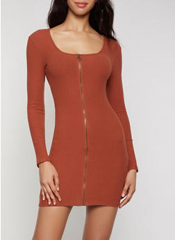 Zip Front Ribbed Dress - 3094015051352