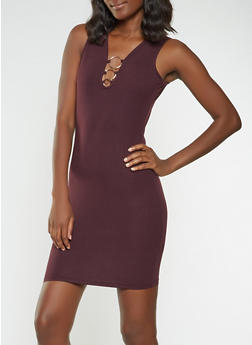 Soft Knit Metallic Detail Bodycon Dress - 3094034280126
