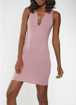 Soft Knit Metallic Detail Bodycon Dress - 3094034280126