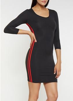 Varsity Stripe Bodycon Dress - RED - 3094034280130