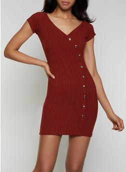 Rib Knit Snap Button Detail Dress - 3094034280520