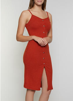 Button Ribbed Knit Tank Dress - 3094034280559