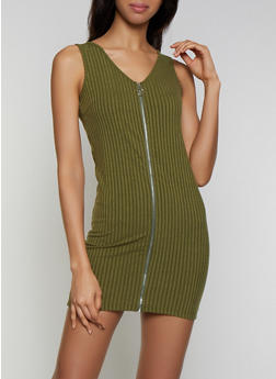 Ribbed Knit Zip Bodycon Dress - 3094034280560