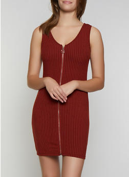 Ribbed Knit Zip Bodycon Dress - 3094034280560
