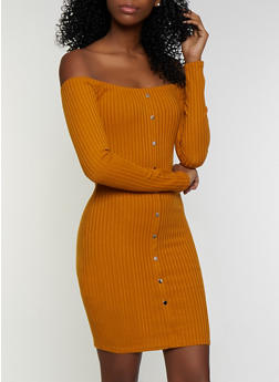 Button Off the Shoulder Ribbed Knit Dress - 3094034280561