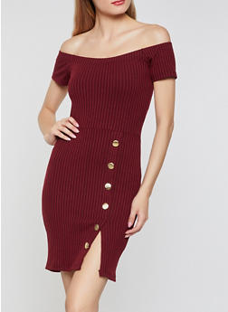 Ribbed Button Detail Off the Shoulder Dress - 3094034280562