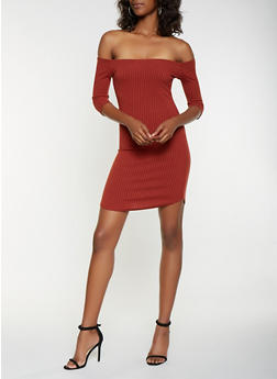Rib Knit Off the Shoulder Bodycon Dress - 3094034281476