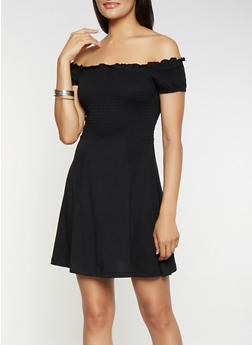 Smocked Off the Shoulder Skater Dress - 3094034284526