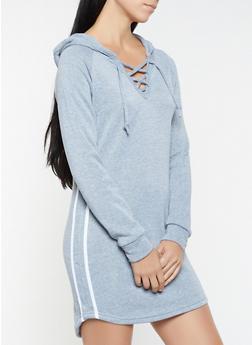 Varsity Stripe Hooded Sweatshirt Dress - 3094038343904