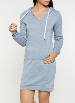 V Neck Sweatshirt Dress - 3094038343905